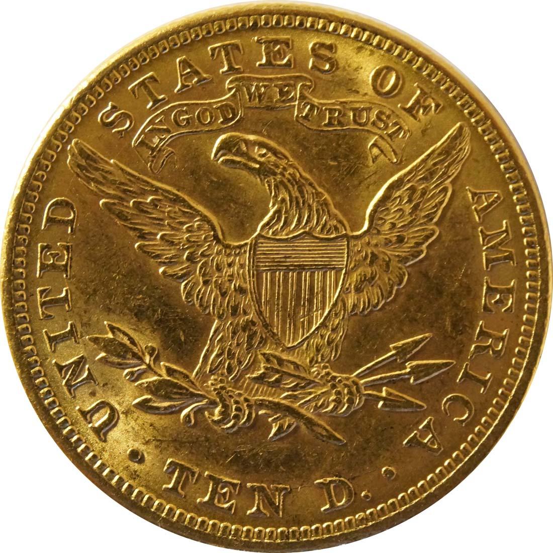 Rückseite :USA : 10 Dollar Kopf winz. Rs. 1881 vz.