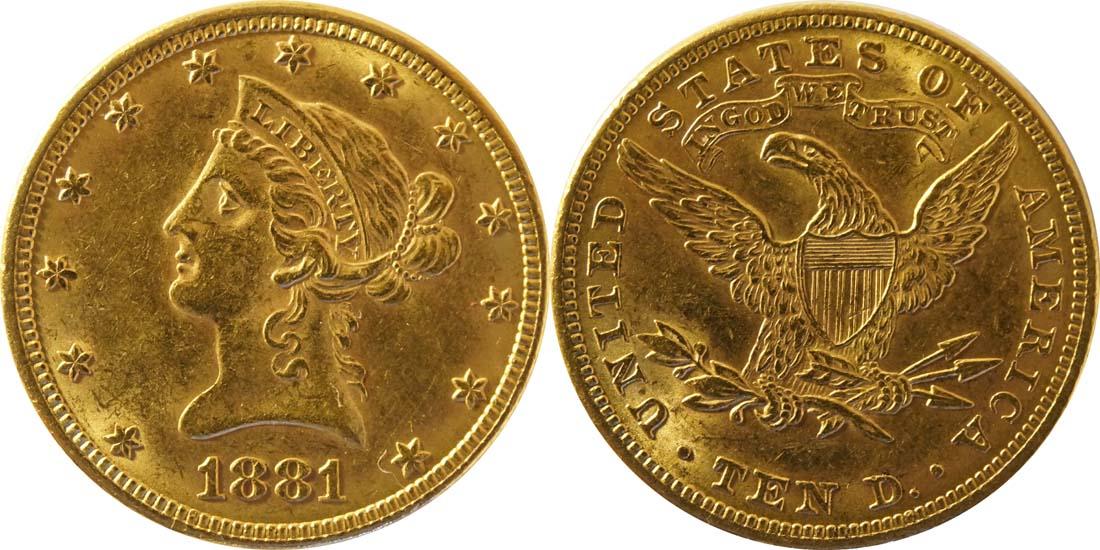 USA : 10 Dollar Kopf winz. Rs. 1881 vz.