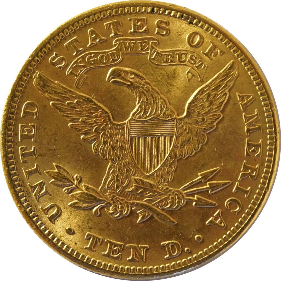 Rückseite:USA : 10 Dollar Kopf  1895 vz.