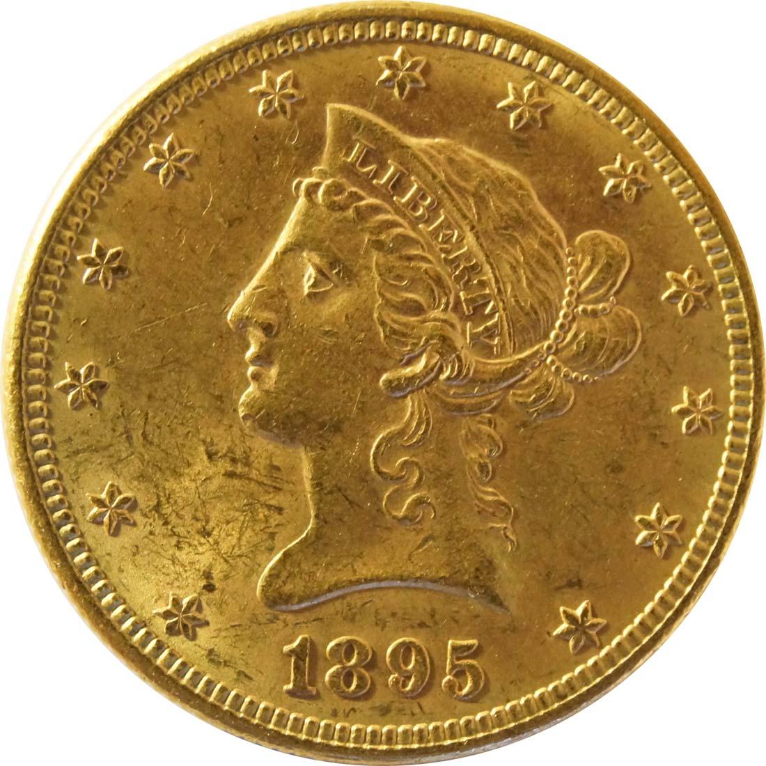 Vorderseite:USA : 10 Dollar Kopf  1895 vz.