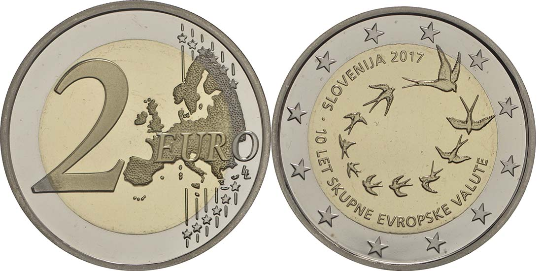 Slowenien : 2 Euro 10. Jahrestag der Einführung des Euro in Slowenien  2017 PP
