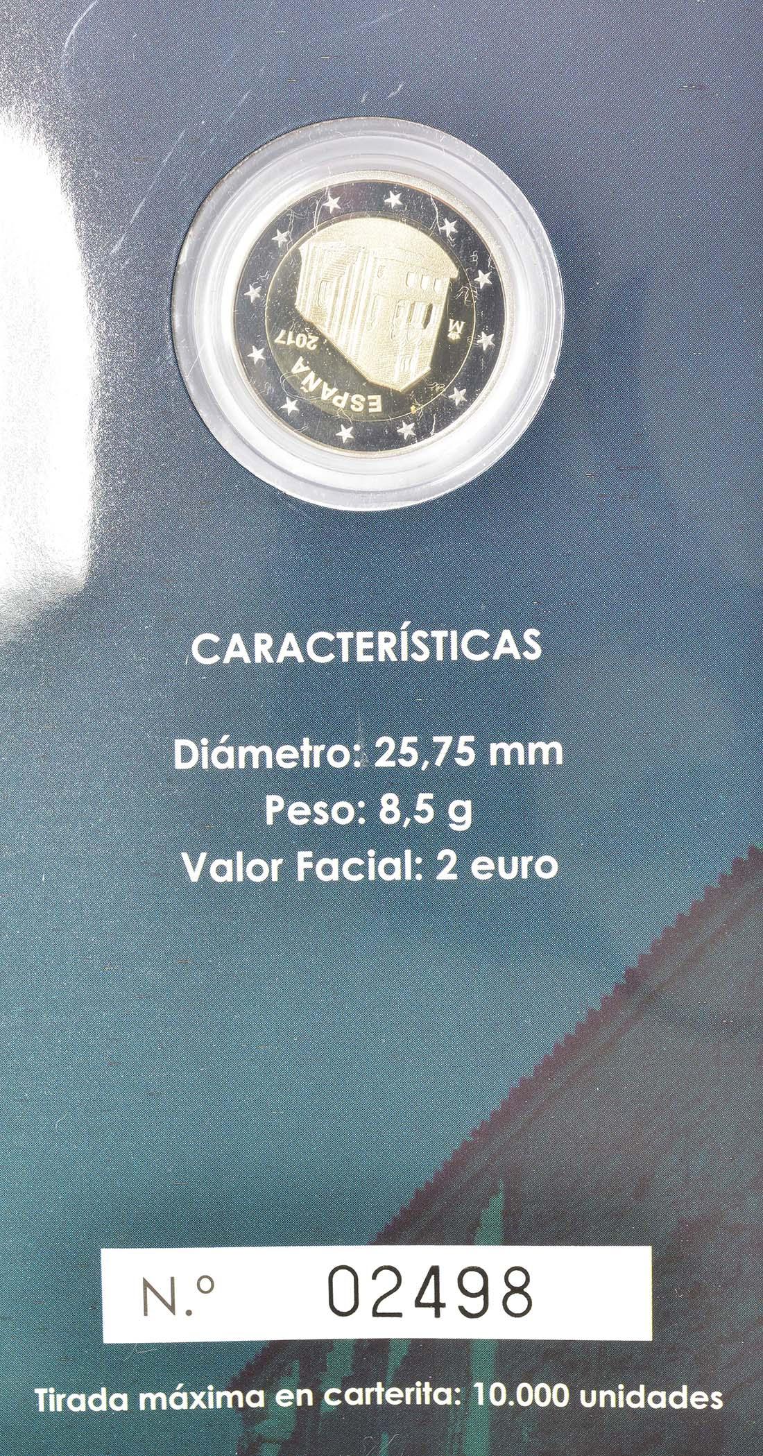 Zertifikat :Spanien : 2 Euro Kirchen des Königreichs Asturien  2017 PP