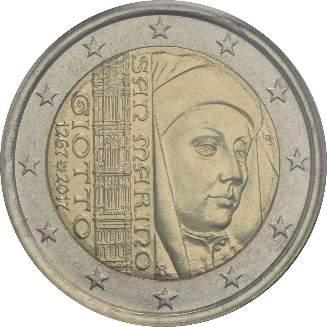 Rückseite :San Marino : 2 Euro 750. Geburtstag von Giotto  2017 Stgl.