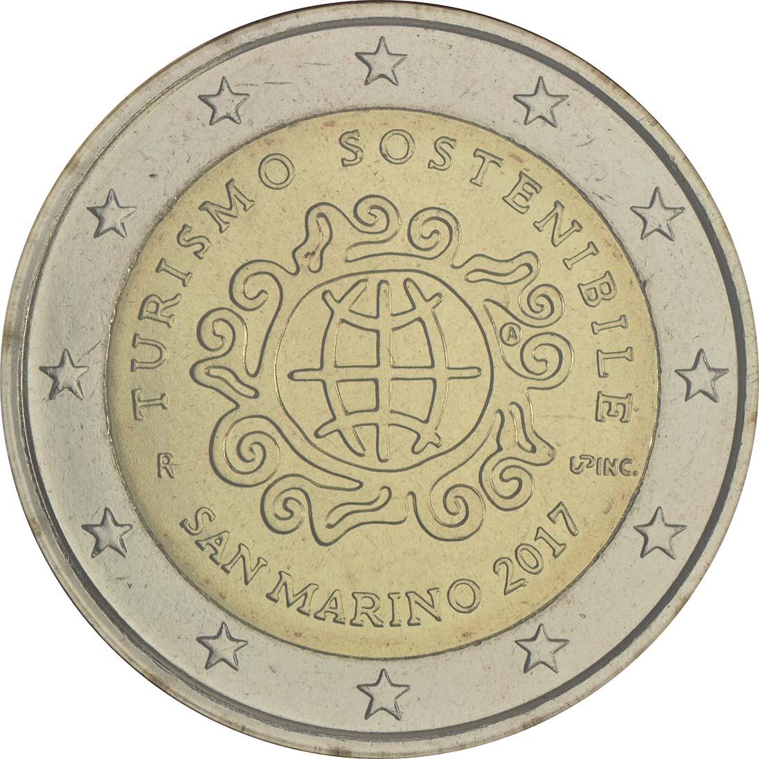 Rückseite:San Marino : 2 Euro Internationales Jahr des Tourismus  2017 Stgl.