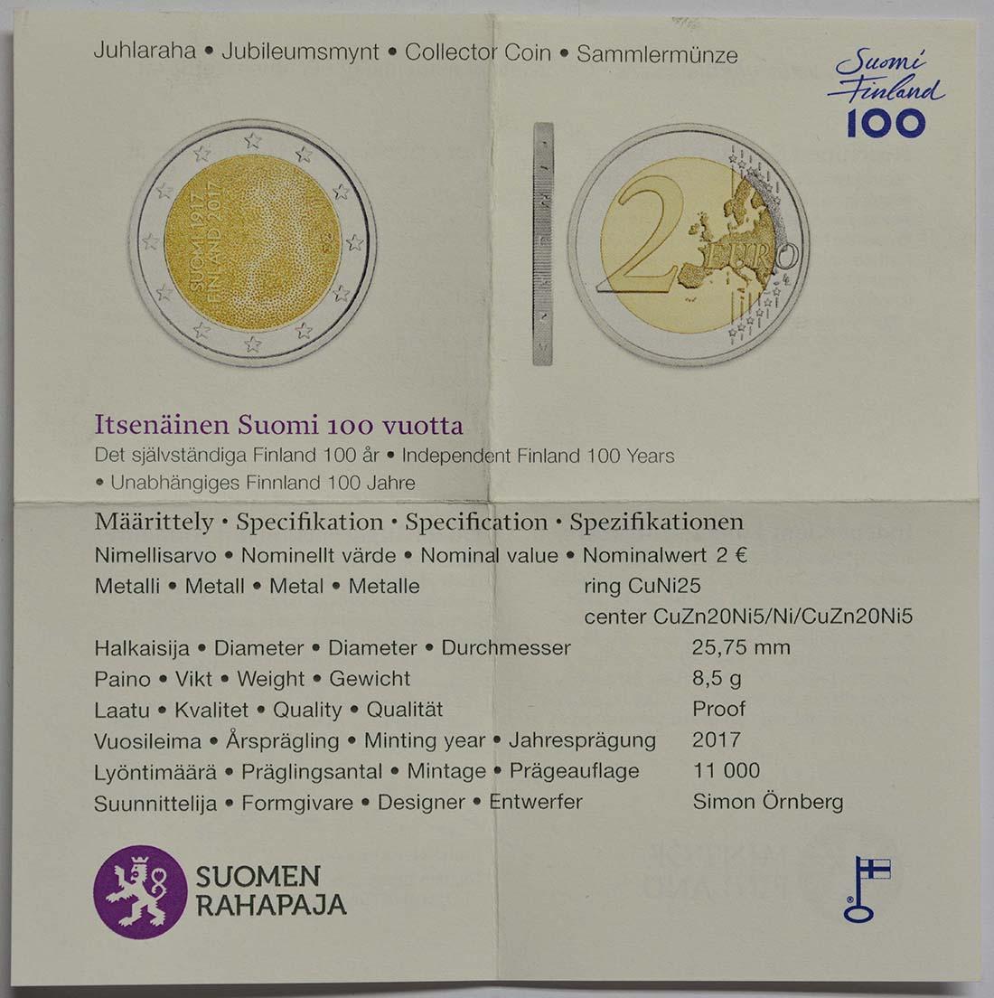 Zertifikat :Finnland : 2 Euro 100. Jahrestag der Unabhängigkeit Finnlands  2017 PP