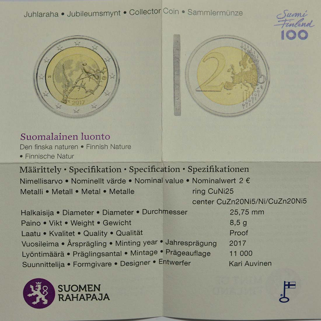 Zertifikat :Finnland : 2 Euro Finnische Natur  2017 PP