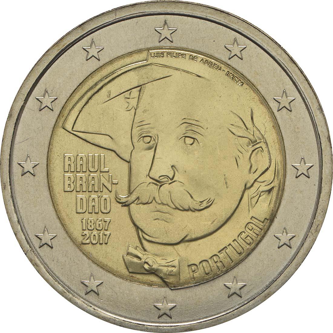 Rückseite :Portugal : 2 Euro 150 Jahre Raul Brandao  2017 bfr