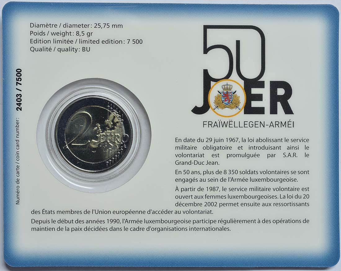 Zertifikat :Luxemburg : 2 Euro 50 Jahre Freiwilligenarmee in Luxemburg  2017 Stgl.