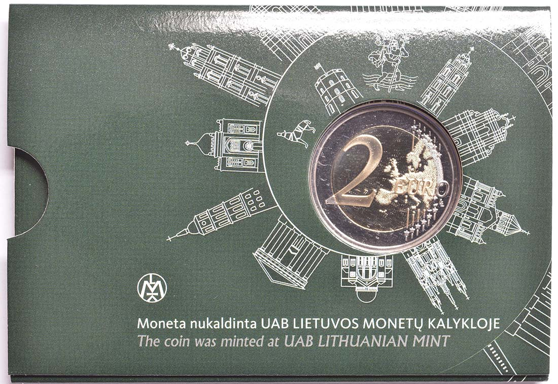 Rückseite:Litauen : 2 Euro Vilnius - Hauptstadt der Kunst und Kultur  2017 Stgl.