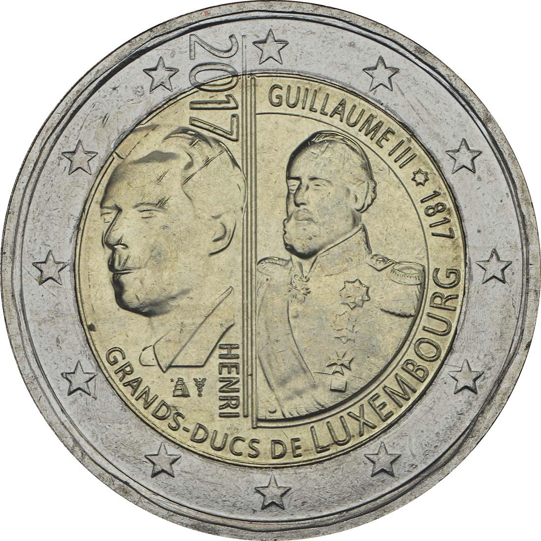 Rückseite:Luxemburg : 2 Euro 200. Geburtstag des Großherzogs Guillaume III.  2017 bfr
