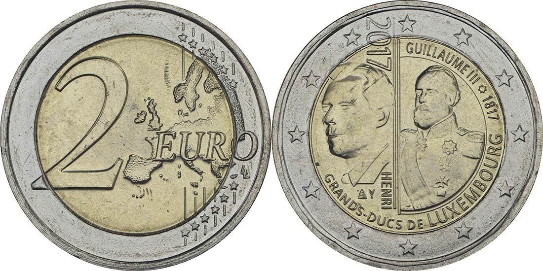 Lieferumfang:Luxemburg : 2 Euro 200. Geburtstag des Großherzogs Guillaume III.  2017 bfr