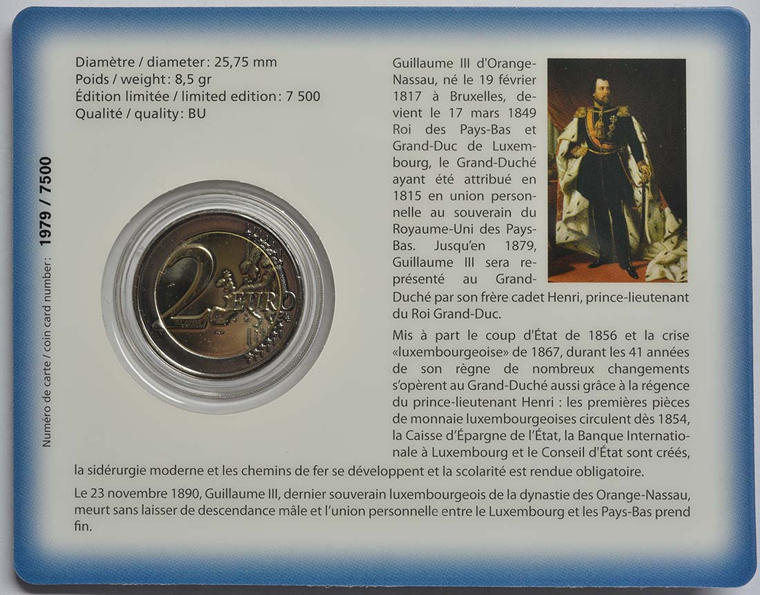 Zertifikat:Luxemburg : 2 Euro 200. Geburtstag des Großherzogs Guillaume III.  2017 Stgl.