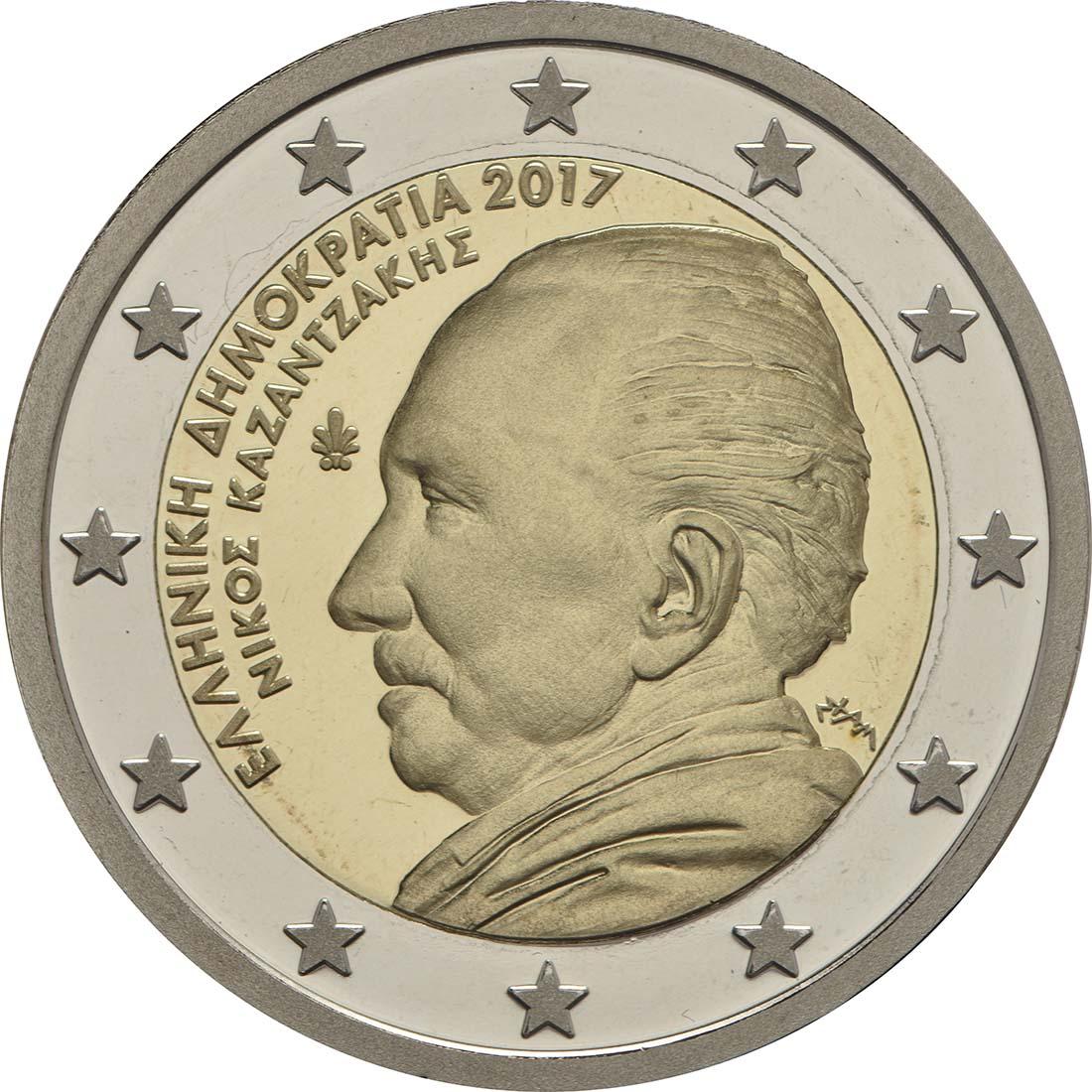Rückseite:Griechenland : 2 Euro 60. Todestag von Nikos Kazantzakis  2017 PP