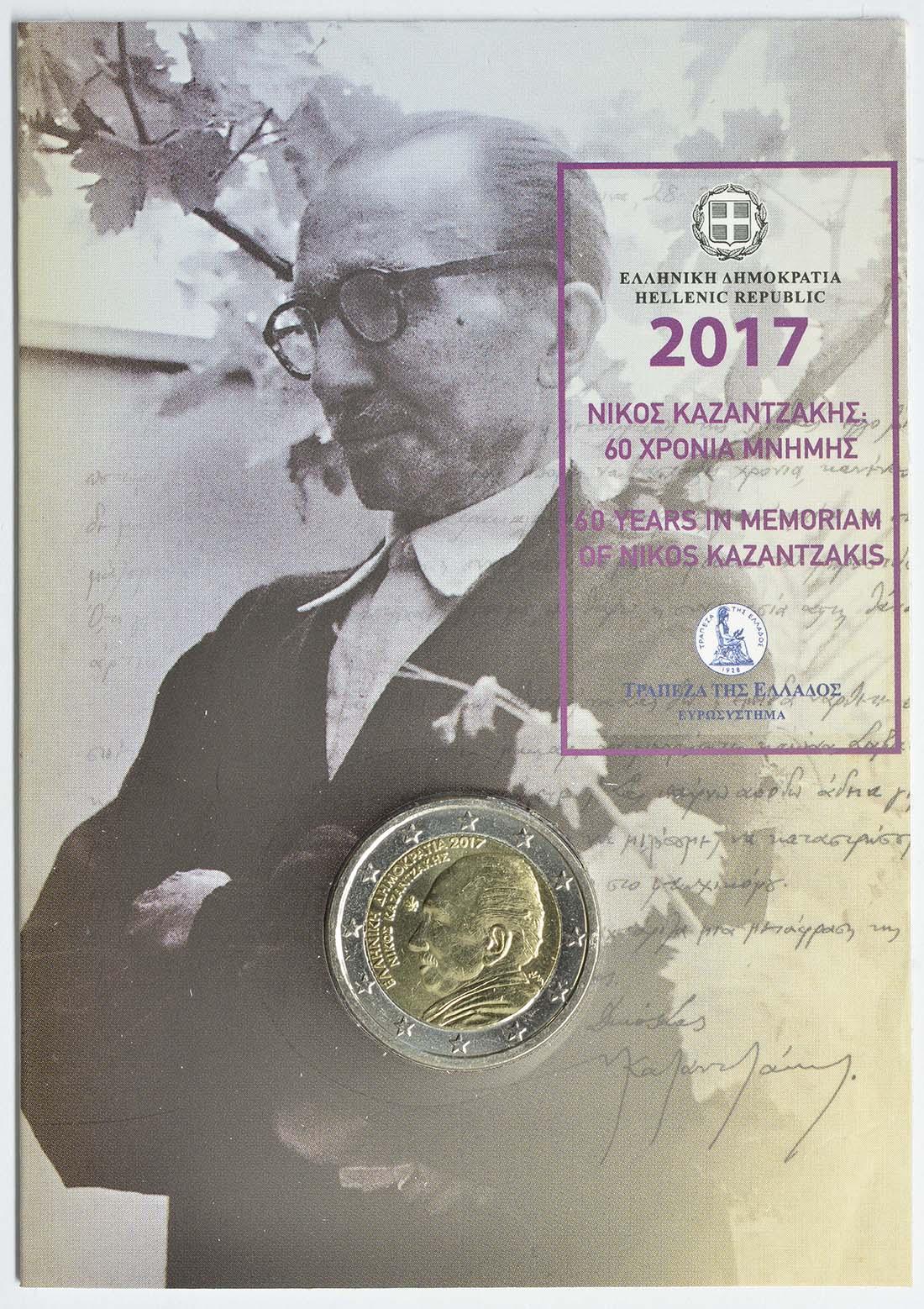 Übersicht:Griechenland : 2 Euro 60. Todestag von Nikos Kazantzakis  2017 Stgl.