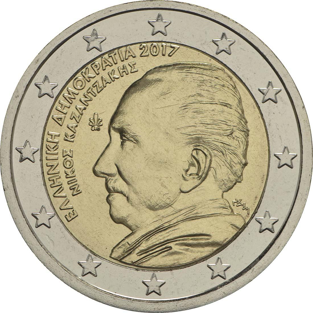 Rückseite:Griechenland : 2 Euro 60. Todestag von Nikos Kazantzakis  2017 bfr