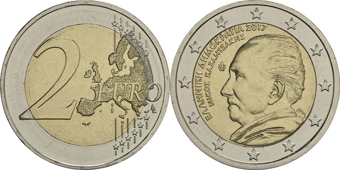 Lieferumfang:Griechenland : 2 Euro 60. Todestag von Nikos Kazantzakis  2017 bfr