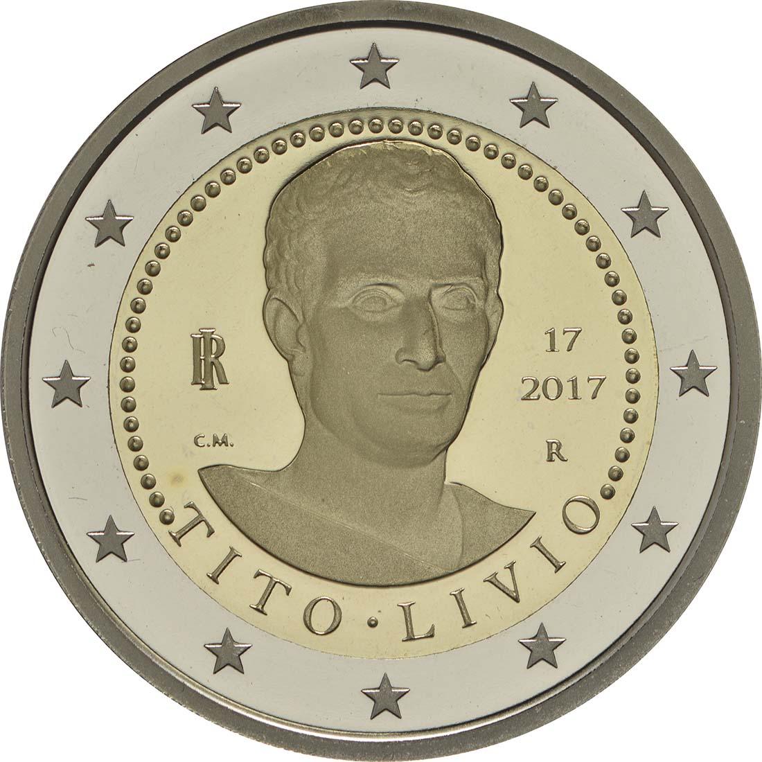 Rückseite :Italien : 2 Euro 2000. Todestag von Titus Livius  2017 PP