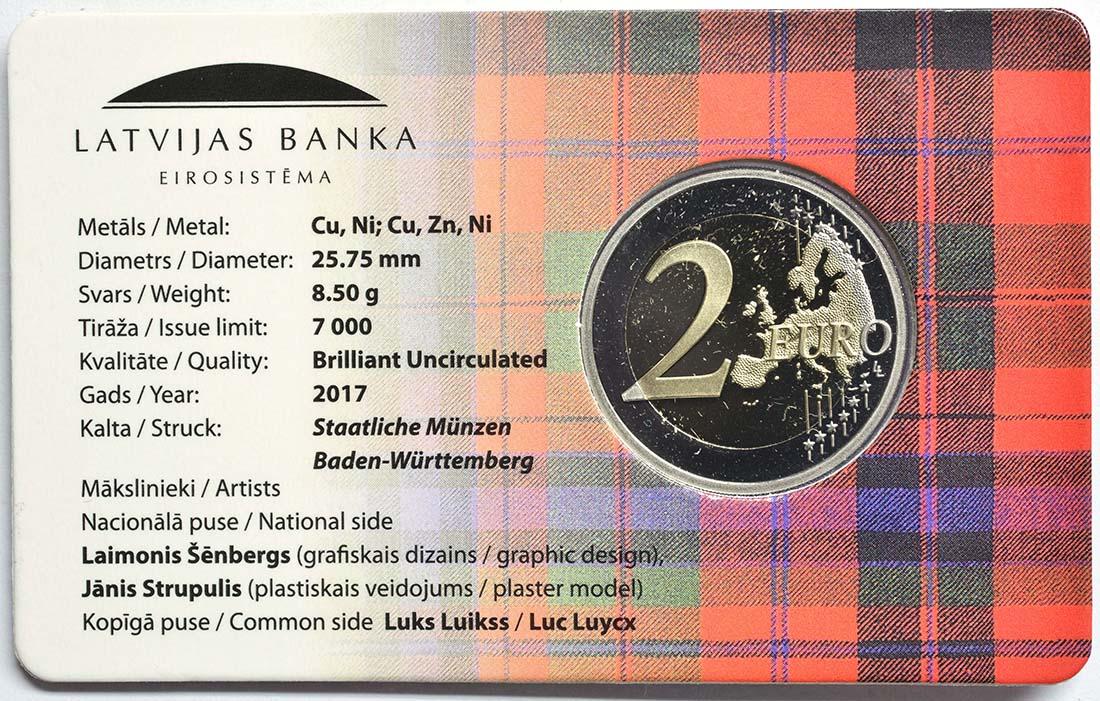 Zertifikat:Lettland : 2 Euro Kurzeme  2017 Stgl.