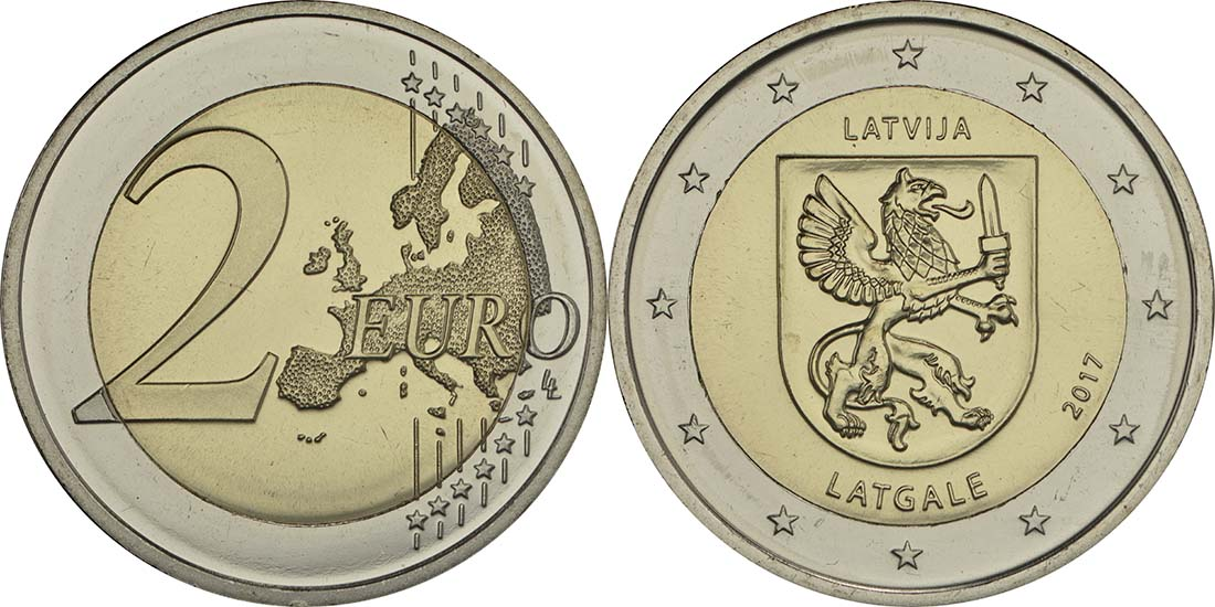 Lieferumfang:Lettland : 2 Euro Latgale  2017 bfr