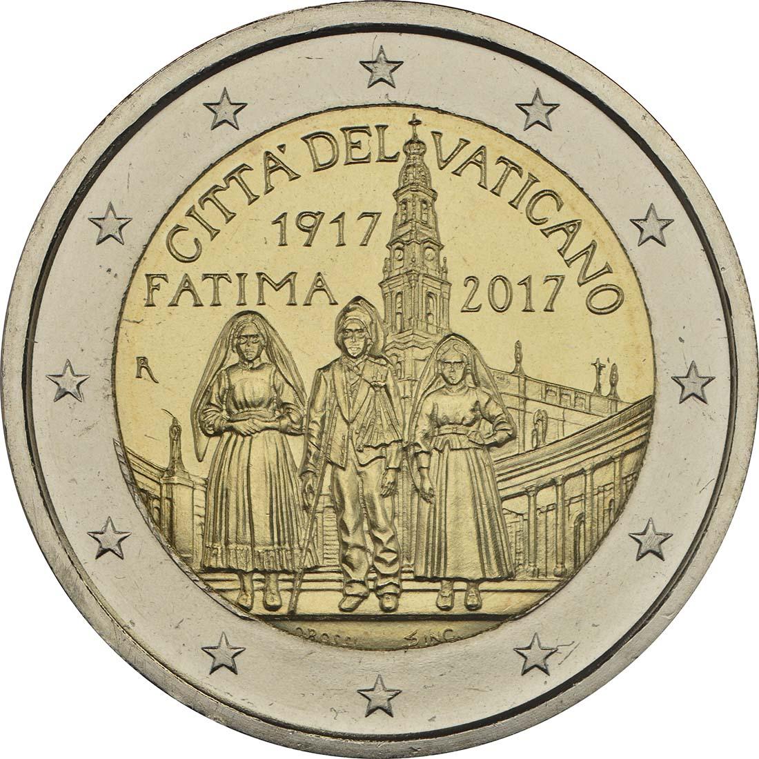Rückseite :Vatikan : 2 Euro Hundertjahrfeier der Erscheinungen von Fatima  2017 Stgl.