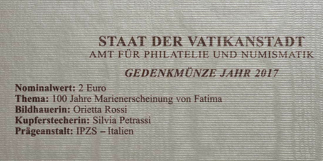 Zertifikat :Vatikan : 2 Euro Hundertjahrfeier der Erscheinungen von Fatima  2017 Stgl.