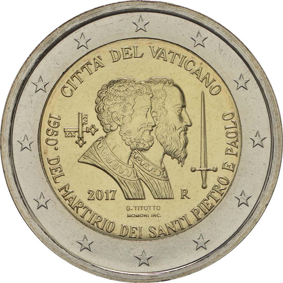 Rückseite :Vatikan : 2 Euro 1950. Jahrestag des Martyriums von St. Peter und Paul  2017 Stgl.