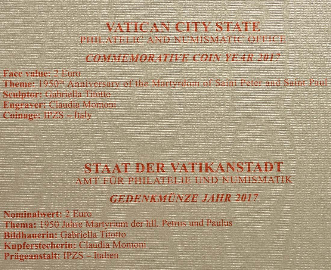 Zertifikat :Vatikan : 2 Euro 1950. Jahrestag des Martyriums von St. Peter und Paul  2017 Stgl.
