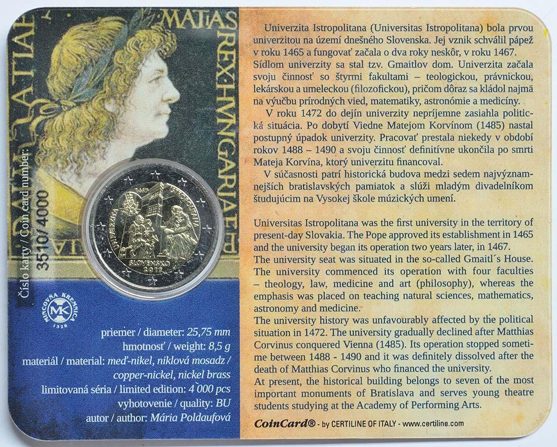 Zertifikat:Slowakei : 2 Euro Universität Istropolitana - 550. Jahrestag  2017 Stgl.