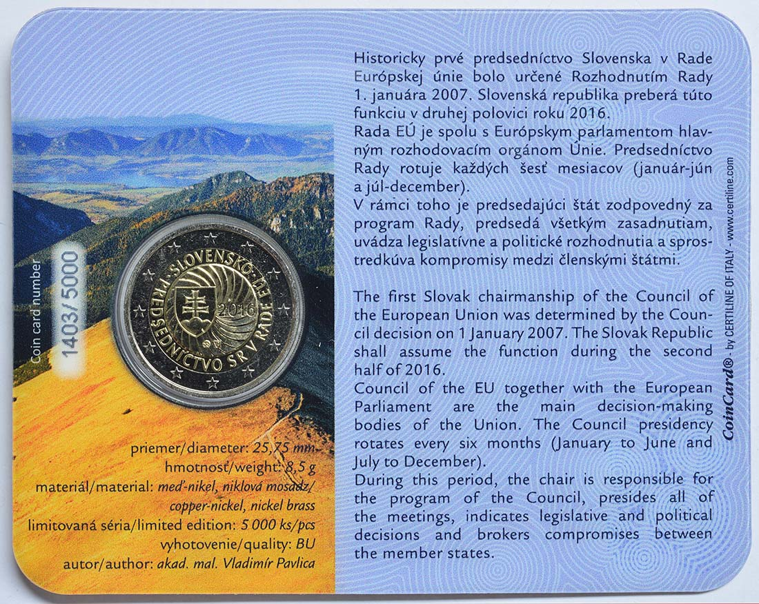 Zertifikat :Slowakei : 2 Euro Erste EU-Präsidentschaft der Slowakei  2016 Stgl.
