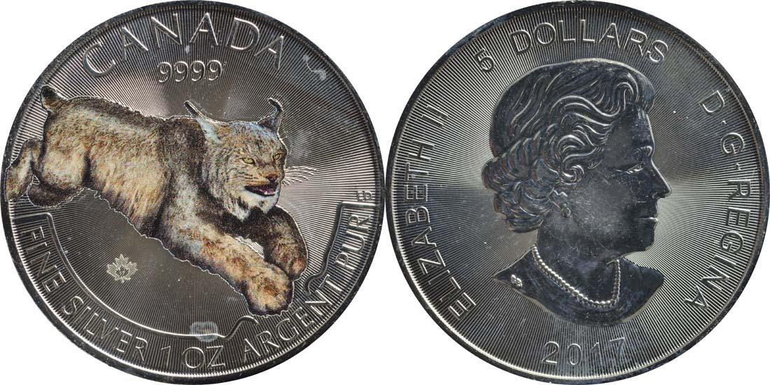Lieferumfang:Kanada : 5 Dollar Wildlife Serie III - Raubtiere - Luchs - farbig  2017 Stgl.