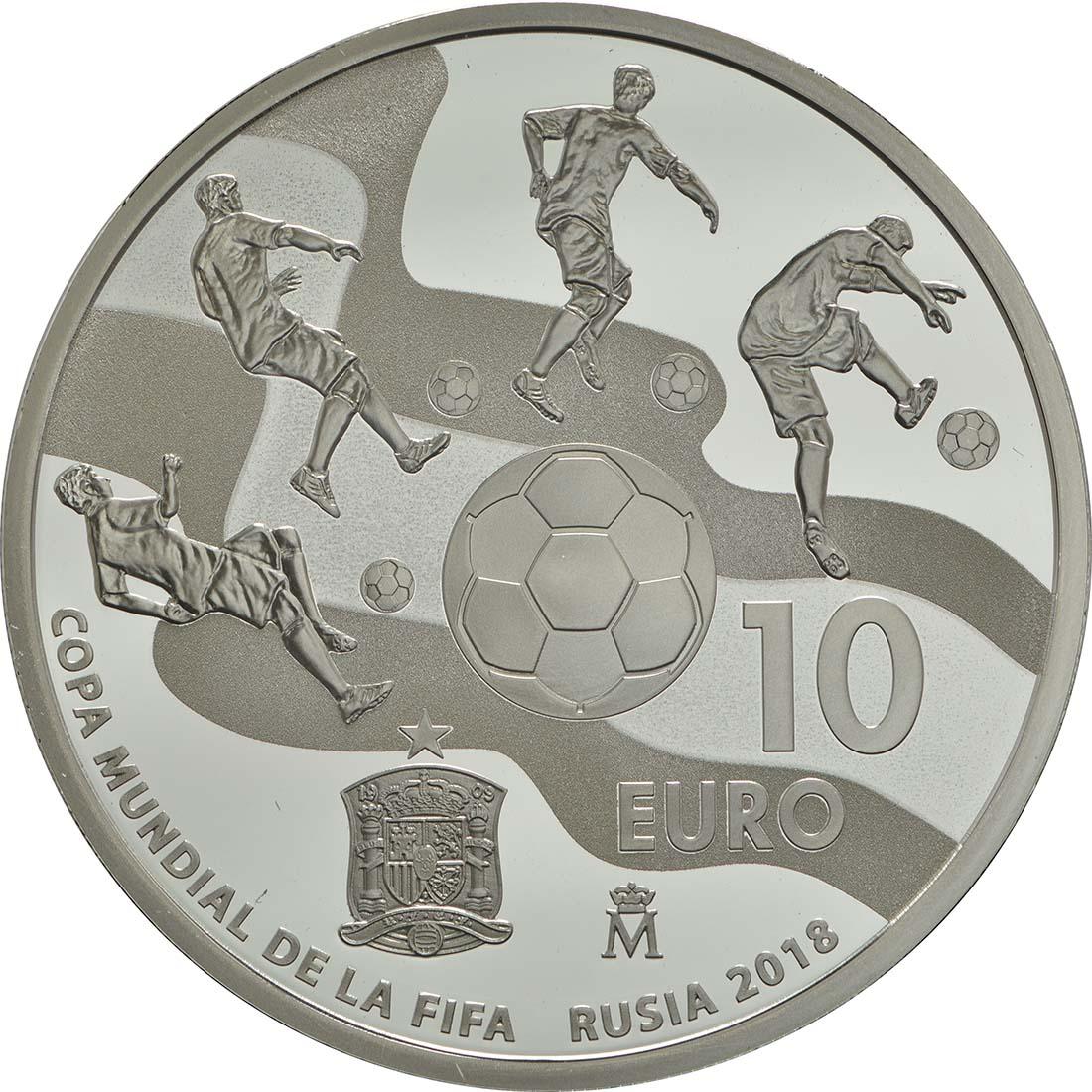 Rückseite :Spanien : 10 Euro Fußball WM  2017 PP