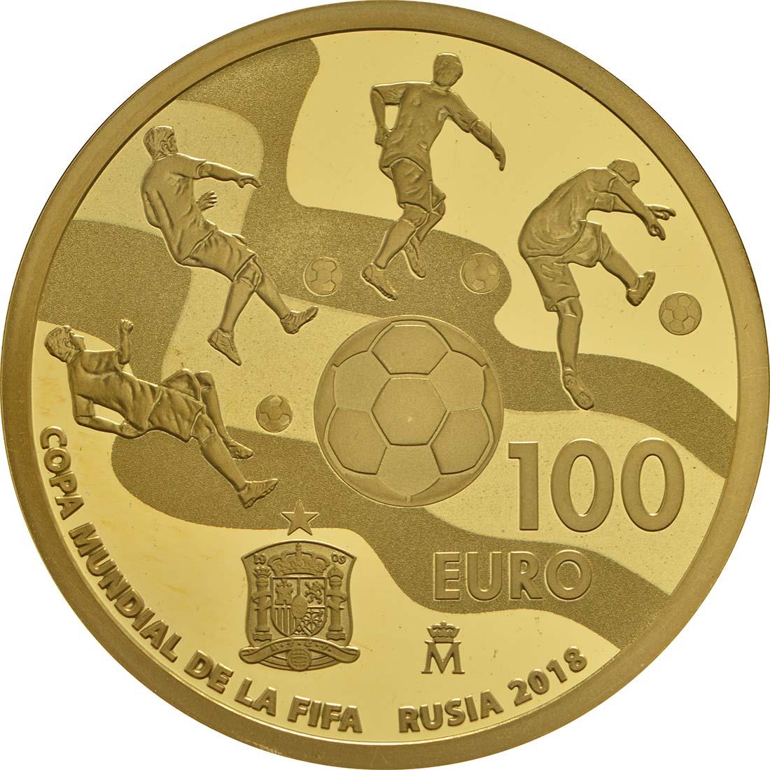 Rückseite :Spanien : 100 Euro Fußball WM  2017 PP