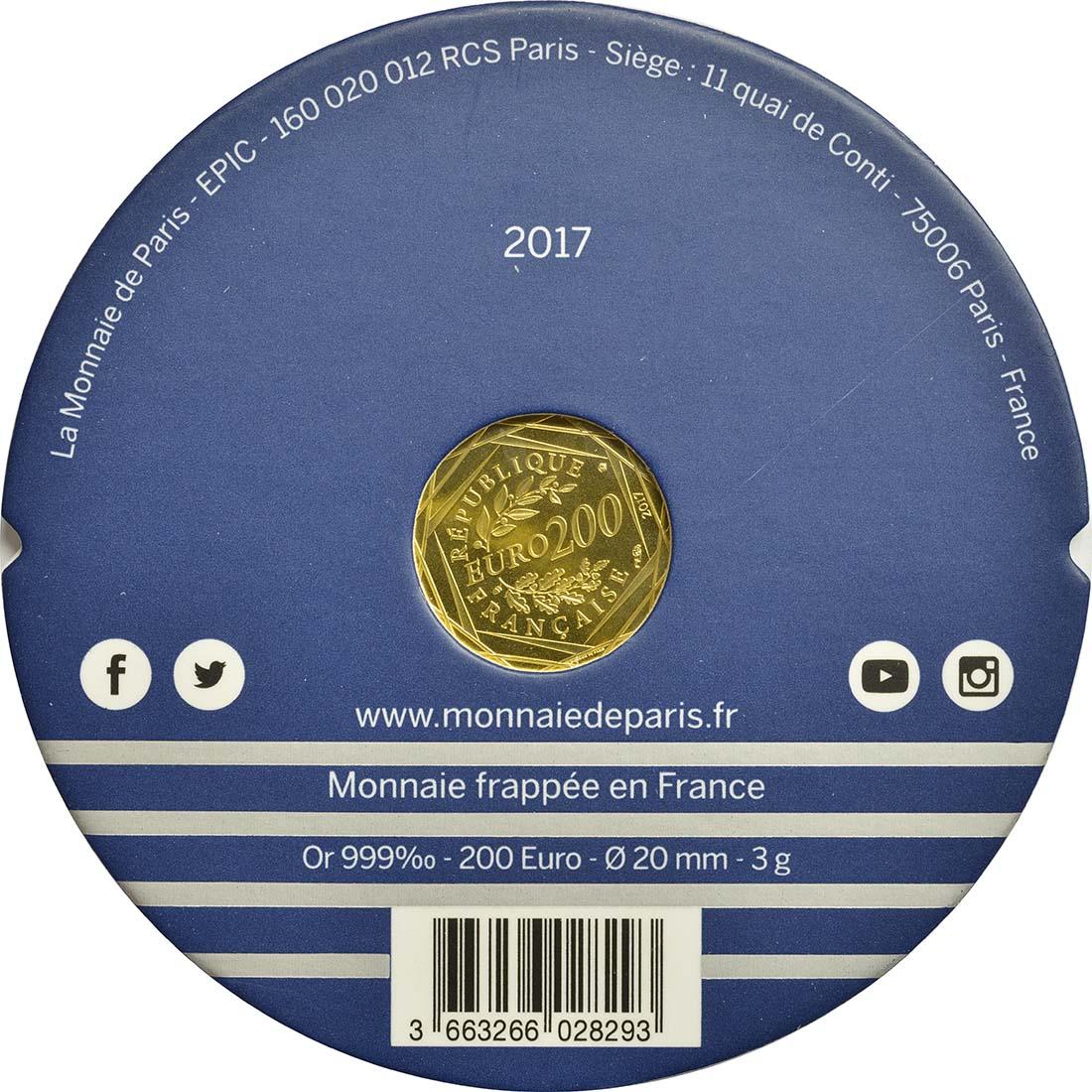 Zertifikat :Frankreich : 200 Euro Jean Paul Gaultier  2017 bfr