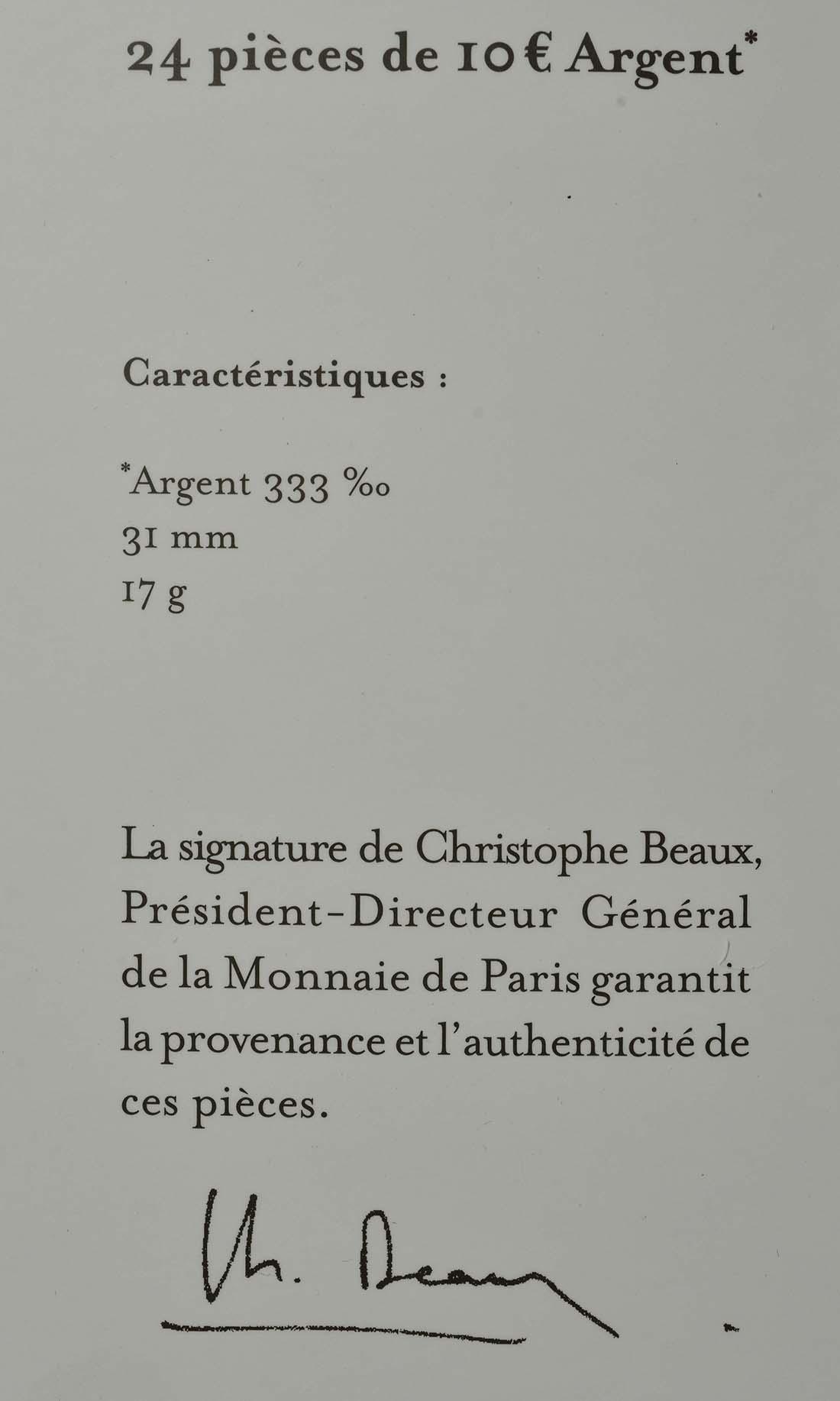 Zertifikat:Frankreich : 120 Euro 12x10 Euro Set 1 von 2  2017 bfr
