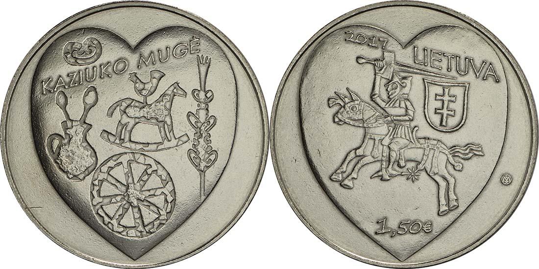 Bild des Lieferumfangs :Litauen - 1,5 Euro Kaziukas  2017 vz.
