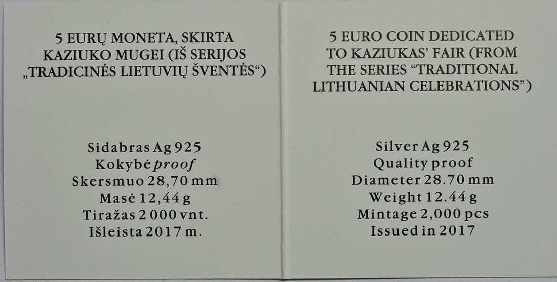 Zertifikat :Litauen : 5 Euro Kaziukas  2017 PP