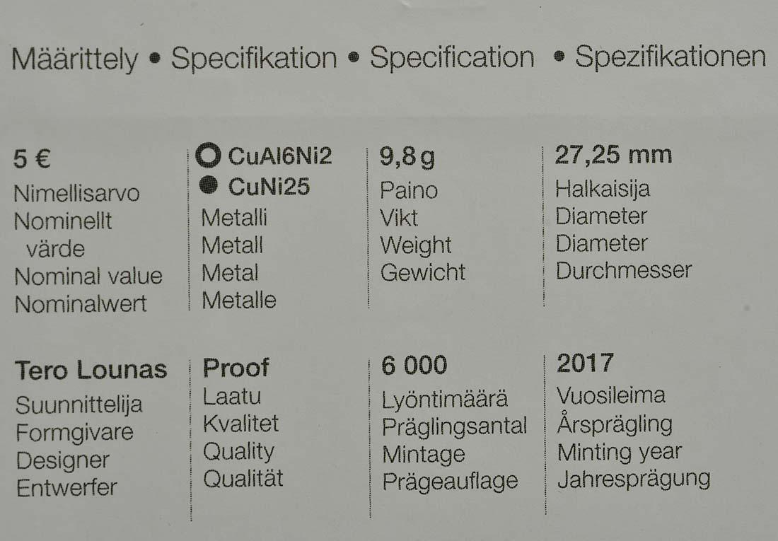 Bild des Zertifikates :Finnland - 5 Euro Ryti  2017 PP