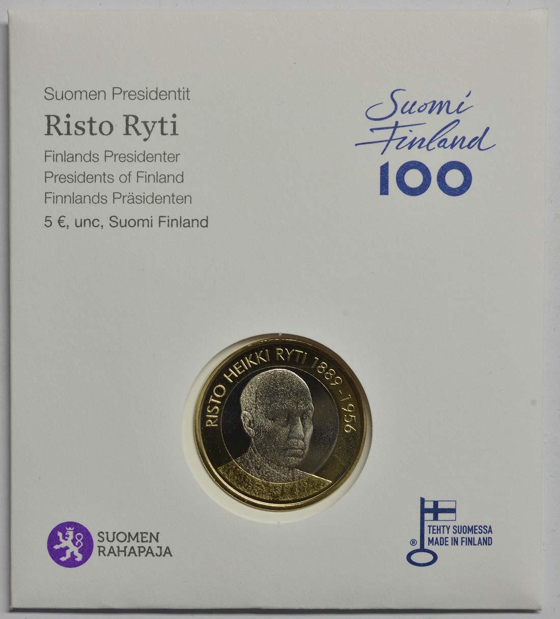 Bild des Lieferumfangs :Finnland - 5 Euro Ryti  2017 Stgl.