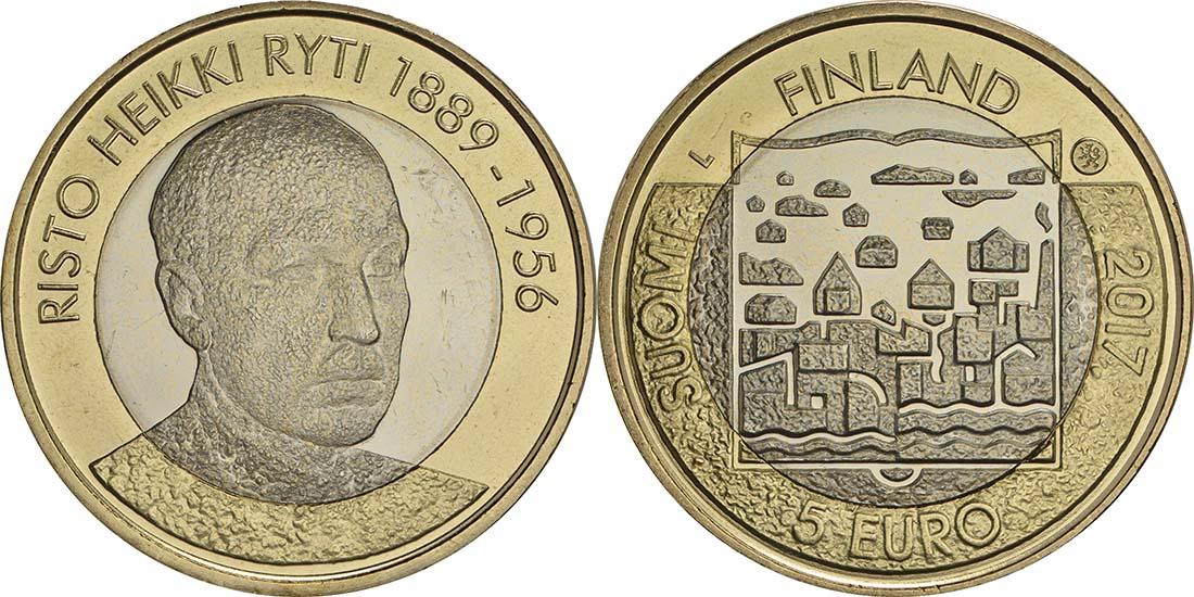 Bild des Lieferumfangs :Finnland - 5 Euro Ryti  2017 bfr