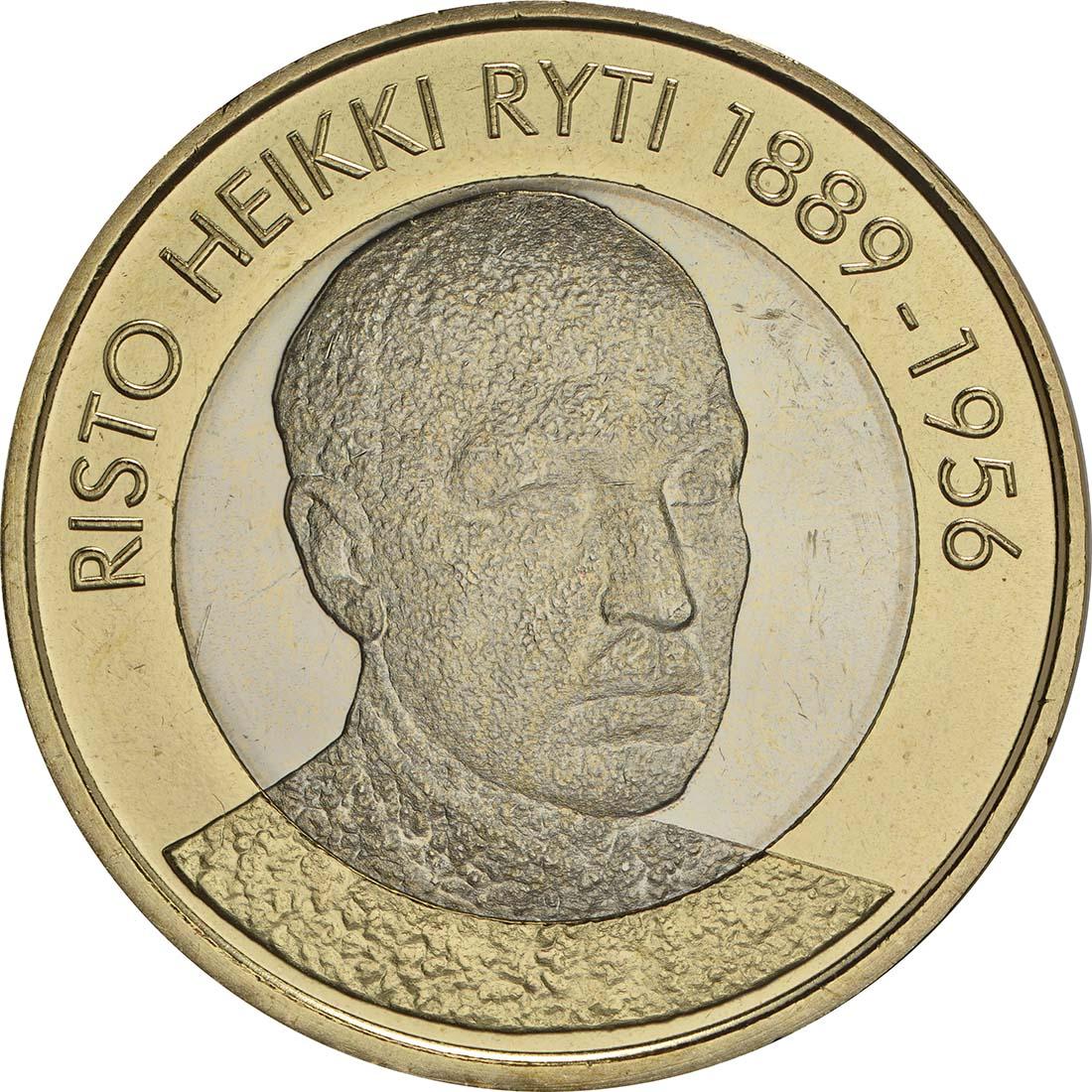 Bild der Vorderseite :Finnland - 5 Euro Ryti  2017 bfr