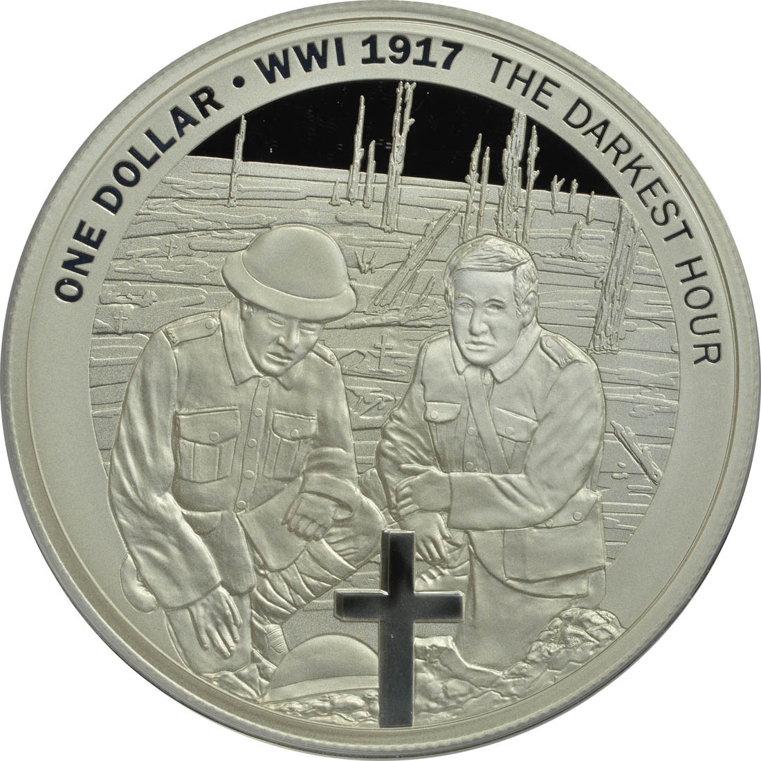 Vorderseite :Neuseeland : 1 Dollar The Darkest Hour - Passchendaele - WW1  2017 PP