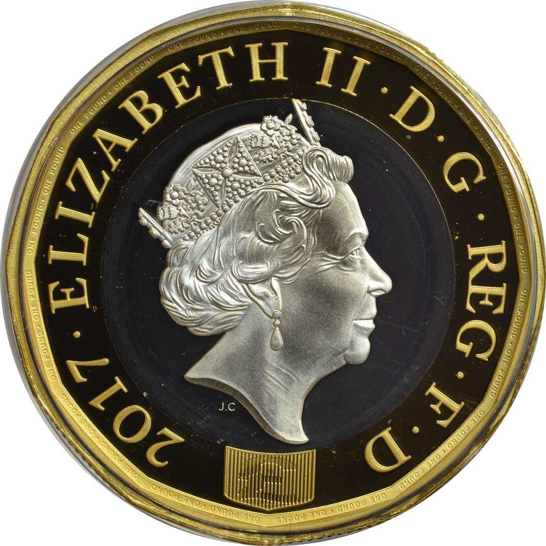 Rückseite :Großbritannien : 1 Pfund The New Pound  2017 PP