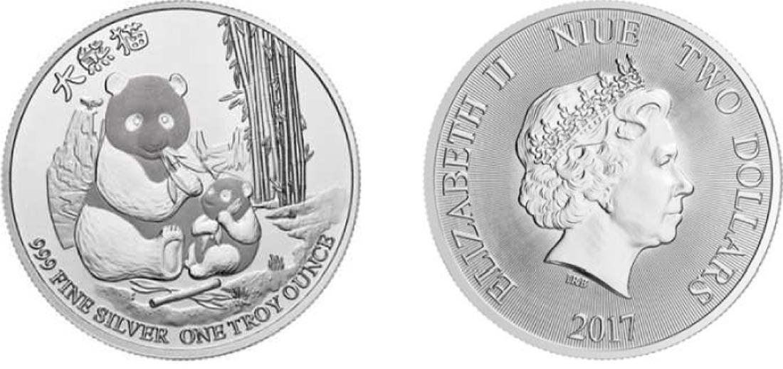 Niue : 2 Dollar Panda  2017 Stgl.