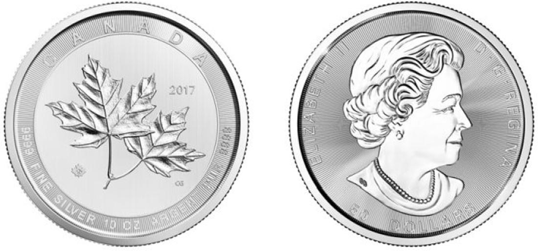 Kanada : 50 Dollar Magnificent Maple Leaf - 10 oz  2017 Stgl.