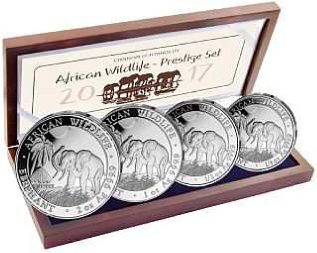 Somalia : 375 Shilling Elefant - Prestige Silber Satz  2017 PP