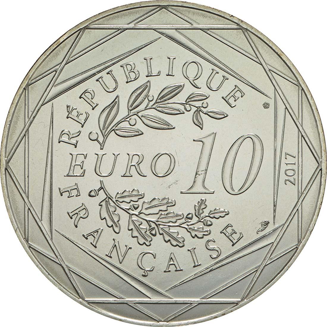 Rückseite:Frankreich : 10 Euro Lyon la lumineuse  2017 bfr