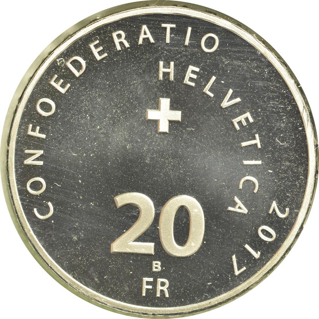 Rückseite :Schweiz : 20 Franken 500 Jahre Reformation  2017 Stgl.