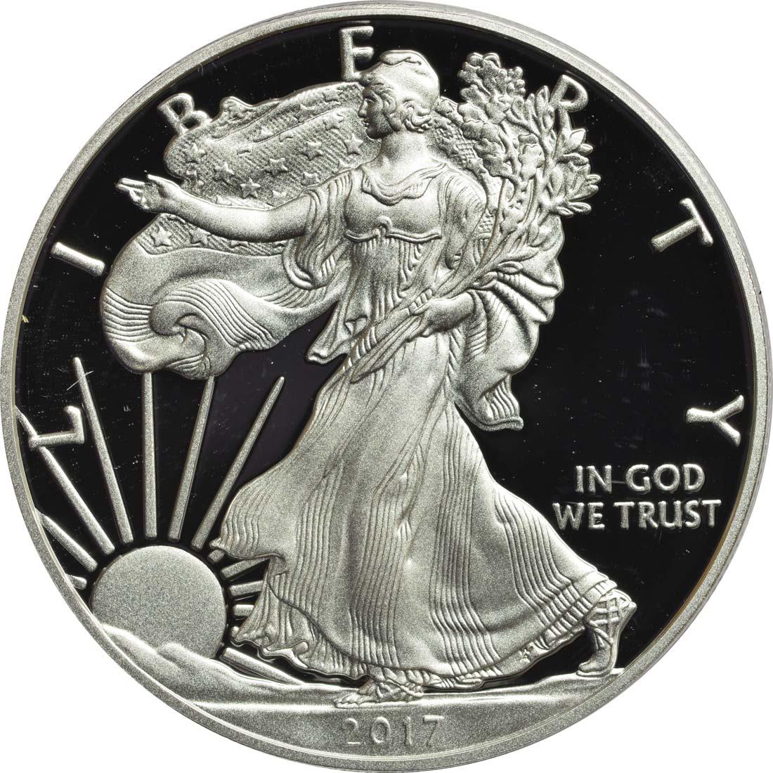 Vorderseite :USA : 1 Dollar Silber Eagle  2017 PP