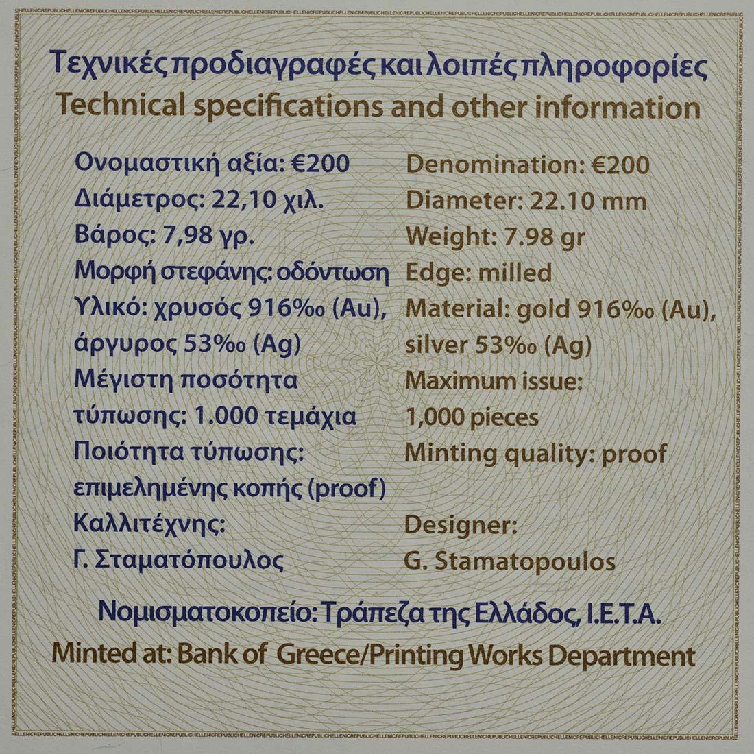 Zertifikat :Griechenland : 200 Euro Diogenes  2017 PP