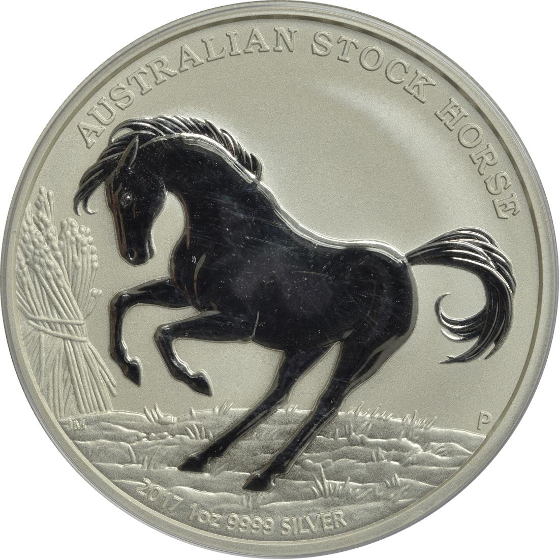 Vorderseite :Australien : 1 Dollar Australisches Stock Horse  2017 Stgl.